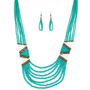 Jewelry - Kickin It Outback Blue Seed Bead Tribal Necklace